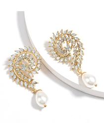 Fashion White Swirl Alloy Earrings With Diamond Imitation Pearls