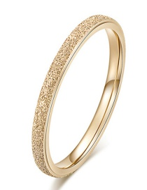 Fashion 14k Gold Fine Titanium Steel Plated 14k Gold Frosted Ring