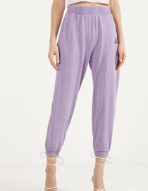 Fashion Purple Embroidered Loose-fit Track Pants