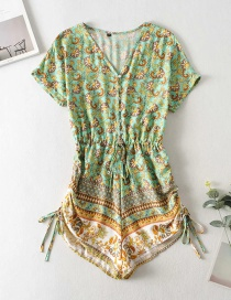 Fashion Green Printed V-neck Drawstring Waist Jumpsuit