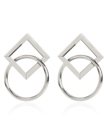 Fashion Silver Alloy Round Square Cross Hollow Stud Earrings