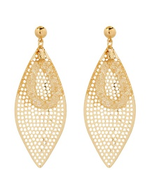 Fashion Golden Frosted Mesh Leaf Alloy Hollow Earrings