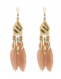 Fashion Brown Feather Beaded Leaf Drop Alloy Earrings