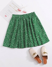 Fashion Green Pleated Ruffled Floral Lace A-line Skirt