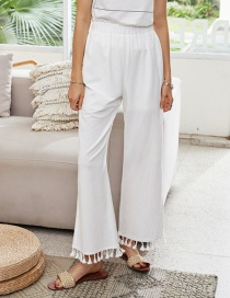Fashion Beige High Waist Draped Straight-leg Wide-leg Pants