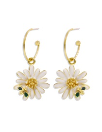 Fashion White Dripping Flower Alloy Bee Earrings
