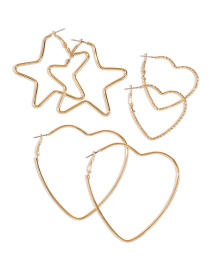 Fashion Golden Five-pointed Star Love Alloy Hollow Earring Set
