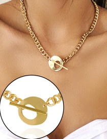 Fashion Golden Ot Buckle Alloy Thick Chain Necklace