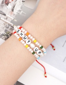 Fashion Color Mixing Handmade Natural Freshwater Pearl Letter Crystal Bracelet