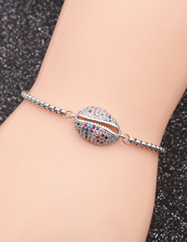 Fashion Color Zirconium Shell A Stainless Steel Chain Shell And Diamond Adjustable Bracelet