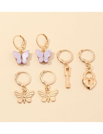 Fashion Color Mixing Resin Butterfly Love Lock Alloy Earring Set