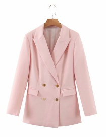 Fashion Pink Double-breasted Loose Blazer