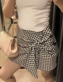 Fashion Black Checked Lace-up Shorts