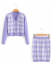 Fashion Purple Houndstooth Jacket + Houndstooth Bag Hip Skirt Suit