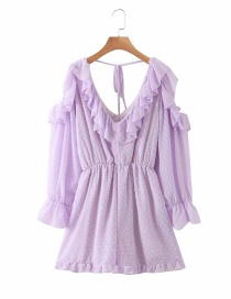 Fashion Purple Sheared Ruffled Off-shoulder Jumpsuit