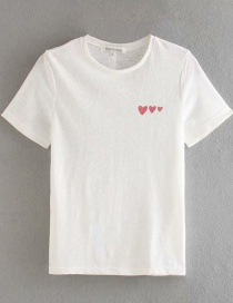 Fashion White T-shirt With Small Love Button Decoration