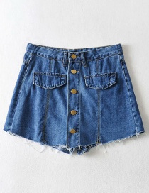 Fashion Denim Blue Washed Split Single-breasted Denim Skirt Pants
