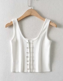 Fashion White Pin Slim Cardigan Vest Top