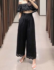 Fashion Black Cutout Embroidered Poplin Lace Straight Pants