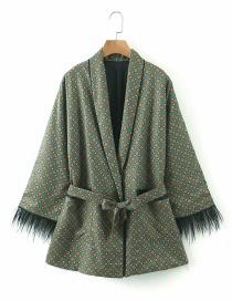 Fashion Dark Green Geometric Print Chicken Feather Stitching Lace Blazer