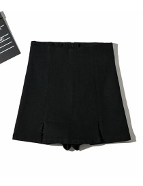 Fashion Black Washed Double Slit Jeans Skirt