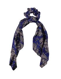 Fashion Blue Printed Ribbon Bowel Hair Rope
