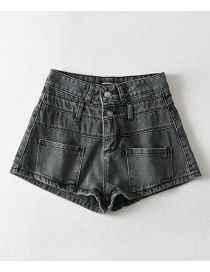 Fashion Gray Washed Double-waist Denim Slim-fit Shorts