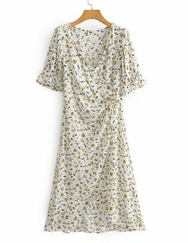 Fashion White V-neck Floral Print Mid-length Lace Dress
