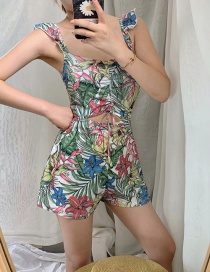 Fashion Green Flower Print Hollow Suspender Jumpsuit