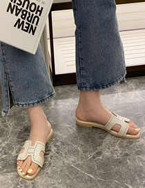 Fashion White Flat Bottom Hollow Sandals And Slippers