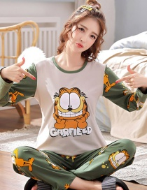 Fashion Garfield Pure Cotton Long Sleeve Printed Home Service Suit