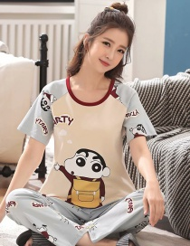 Fashion Little New Cotton Short-sleeved Printed Trousers Loose Plus Size Pajamas Suit