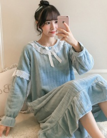 Fashion Blue Flannel Thickened Printed Home Service Long Nightdress