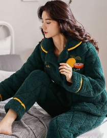 Fashion Lemon Coral Velvet Three-layer Thickened Cotton-printed Home Service Suit