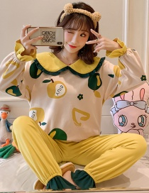 Fashion Ginger Long-sleeved Printed Contrast Cotton Pajamas Suit