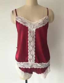 Fashion Red Two-piece Pajamas With Lace Suspenders