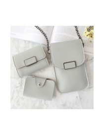 Fashion Light Grey Three-piece Set Of Square Buckle Touch Screen Chain Mobile Phone Bag Wallet Card Bag