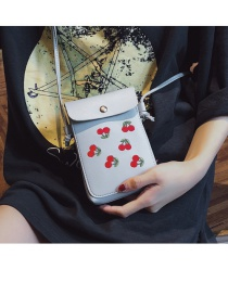Fashion Light Grey Mobile Phone Bag With Adjustable Shoulder Strap And Cherry Embroidery
