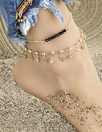 Fashion Golden Alloy Diamond Bow Resin Bead Bracelet Anklet Set