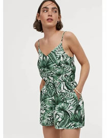 Fashion Leaves Leaf Print Slim Suspenders Jumpsuit
