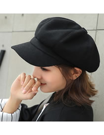 Fashion Black Wool Stitching Octagonal Cap