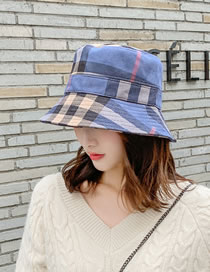 Fashion Navy Blue Suede Collapsible Plaid Fisherman Hat