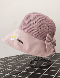 Fashion Pink Knitted Top Stitching Small Daisy Alphabet Embroidery Bow Fisherman Hat