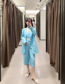 Fashion Blue Solid Long Blazer With Buttons