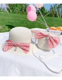 Fashion Plaid Bow Section-beige Suit Childrens Section (hat Circumference About 48-52cm) About 2-7 Years Old Flower Lace Butterfly Straw Sun Protection Hat Braided Rope Shoulder Bag