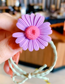Fashion Purple Daisies Small Daisy Resin Hit Color Knotted High Elastic Hair Rope