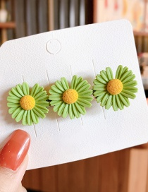 Fashion Large-green Small Daisy Resin Contrast Alloy Hair Clip