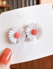 Fashion White Little Daisy Resin Alloy Contrast Hairpin