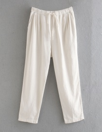Fashion White Bow Tie Lace Solid Straight Pants