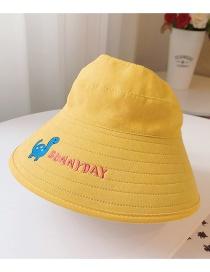 Letra Pequeña Del Bordado Del Dinosaurio De La Margarita Sombrero Para El Sol Superior Vacío De Los Niños